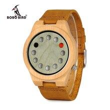 レロジオ masculino ボボ鳥メンズ腕時計手作りグリーン木製革バンドクォーツ腕時計受け入れるロゴドロップシッピング