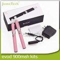 Melhor E Cigarette duplo EVOD MT3 Kits em caixa de presente pacote 2.4 ml EVOD atomizador 900 mah EVOD Ecig vaporizador Pen
