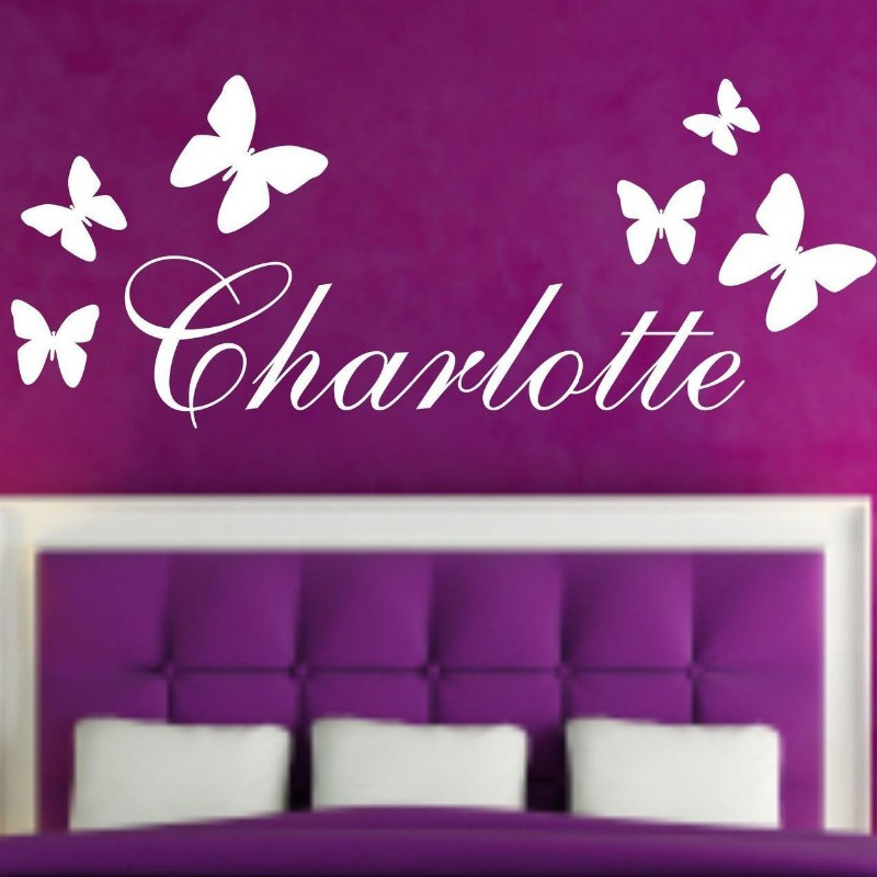 personalised customize name butterfly vinyl wall stickers forever amp always personalised bedroom wall sticker