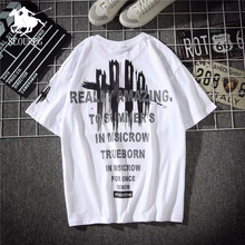 SLOUPPG Letter printing Harajuku Pullover cotton mens T-Shirt Hip Hop Streetwear Fashion Casual Round neck tshirt men
