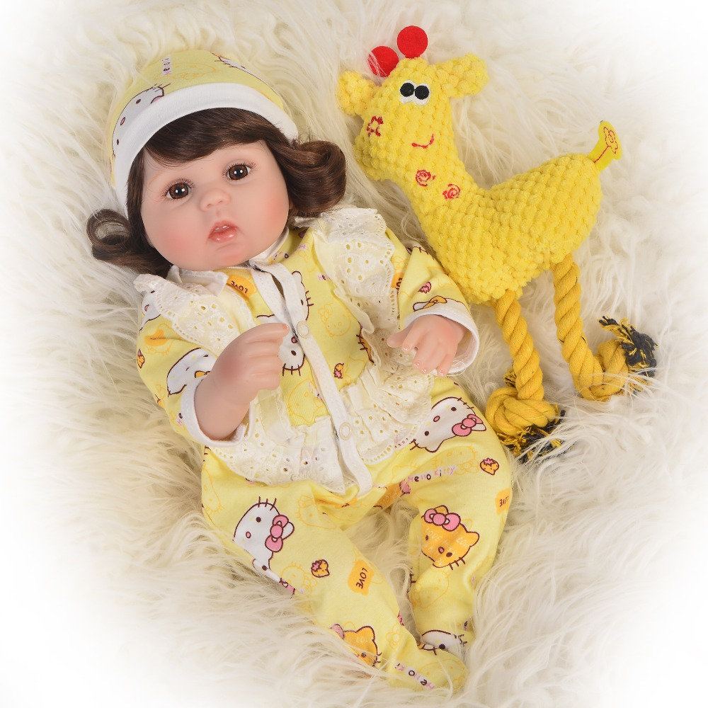 babies bebe Dolls de Silicone Girl Body 43cm adorable Doll Toys For Girls boneca Baby Bebe Doll Best Gifts toys bedtime babie