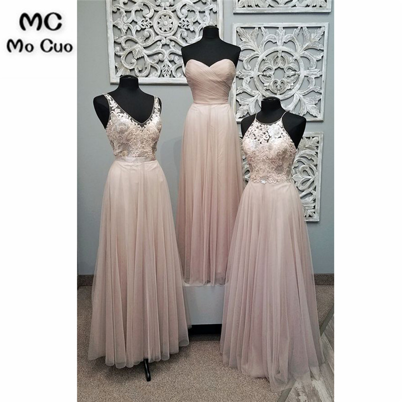New 2018 Beach   Bridesmaid     Dresses   with 3 Style Lace Wedding Party   Dress   vestido de festa de casamento Tulle   bridesmaid     dress