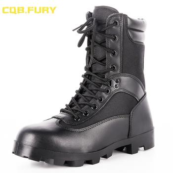 Cqb FURY czarne męskie buty taktyczne skórzane lato wodoodporne buty wojskowe walki oddychające kostki armii Boot z zipper38-46 tanie i dobre opinie Dorosłych Płótnie Niska (1cm-3cm) Gumowe Zamek Skóra dzielona Buty motocyklowe Okrągły palec Wiosna jesień Pasuje do rozmiaru Weź swój normalny rozmiar