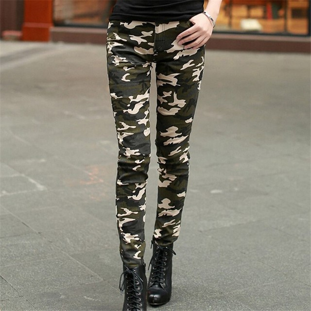 Verano Jeans para mujeres Casual Pantalones Elásticos de Cintura Alta de bolsillo Militar Camuflaje Lápiz Pant leggings pantalon Mujer