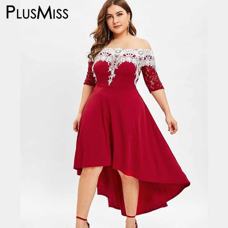 8c0c132a05bf PlusMiss Plus Size 5XL Sexy Off The Shoulder Maxi Long Dress Women Lace  Crochet Elegant Party