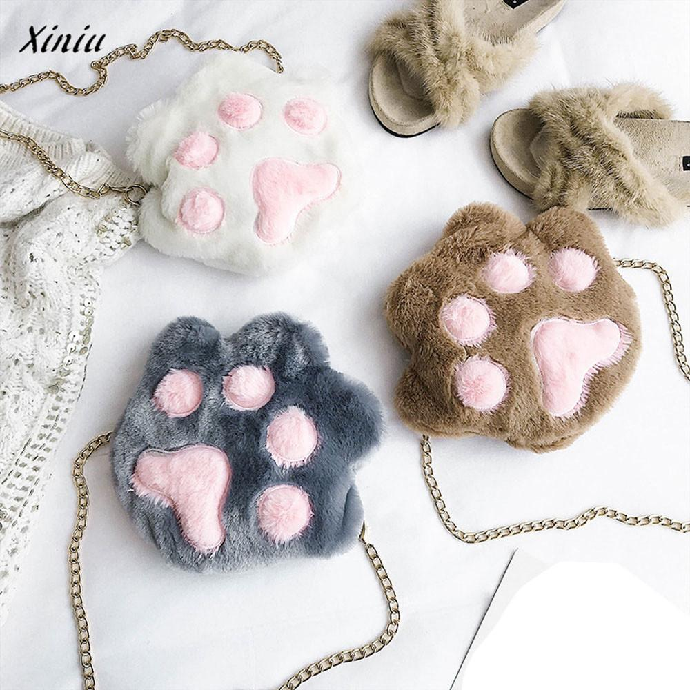 xiniu Women Girls paw wallet Fashion Shoulder Plush Chain Purse Coin Purse Crossbody Bag cat purse monederos para mujer ...