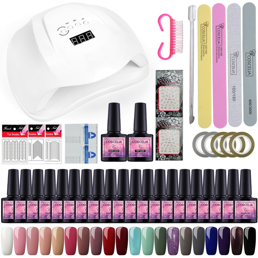 Nail Art Decorations DIY Manicure Tools 54 W UV LED Lamp Curing 10/20 PC Multiple Colors Nail Gel Varnish Top & Primer Coat Kit