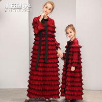 2019 Luxury Desgin Mother Daughter Wedding Dresses Cake Style for Family Matching Clothes Mum Mom and Daughter Dress Evening