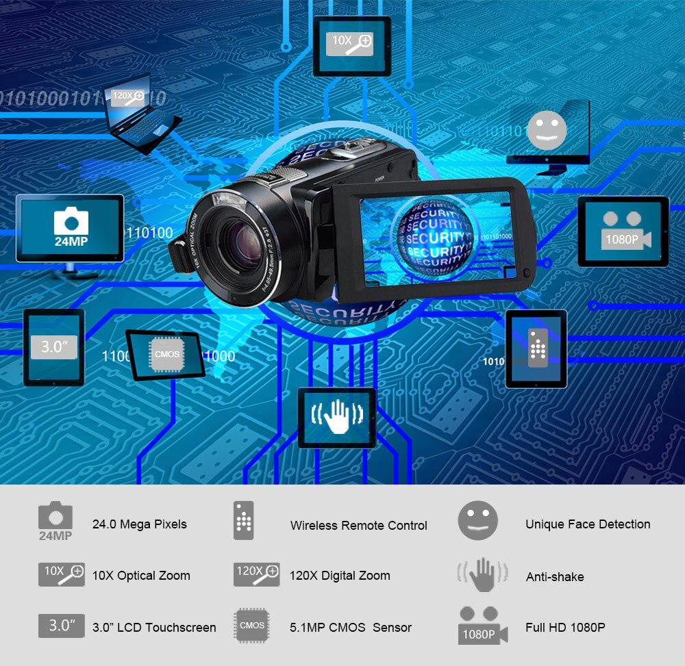 Ordro Z80 caméra vidéo numérique 10x Zoom optique HD numérique 1080P caméscope Vision nocturne 120X Zoom numérique télécommande