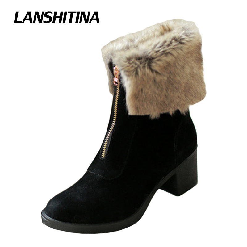 LANSHITINA Women Ankle Boots Winter Short Boot Warm Shoe Flat Botas Mujer Snow Boots Fur Fashion Zippe Round Toe Shoes Boots brand women boots thicken warm winter ladies snow boot women shoes woman fur ankle boots chaussure femme botas mujer 2017 svt905