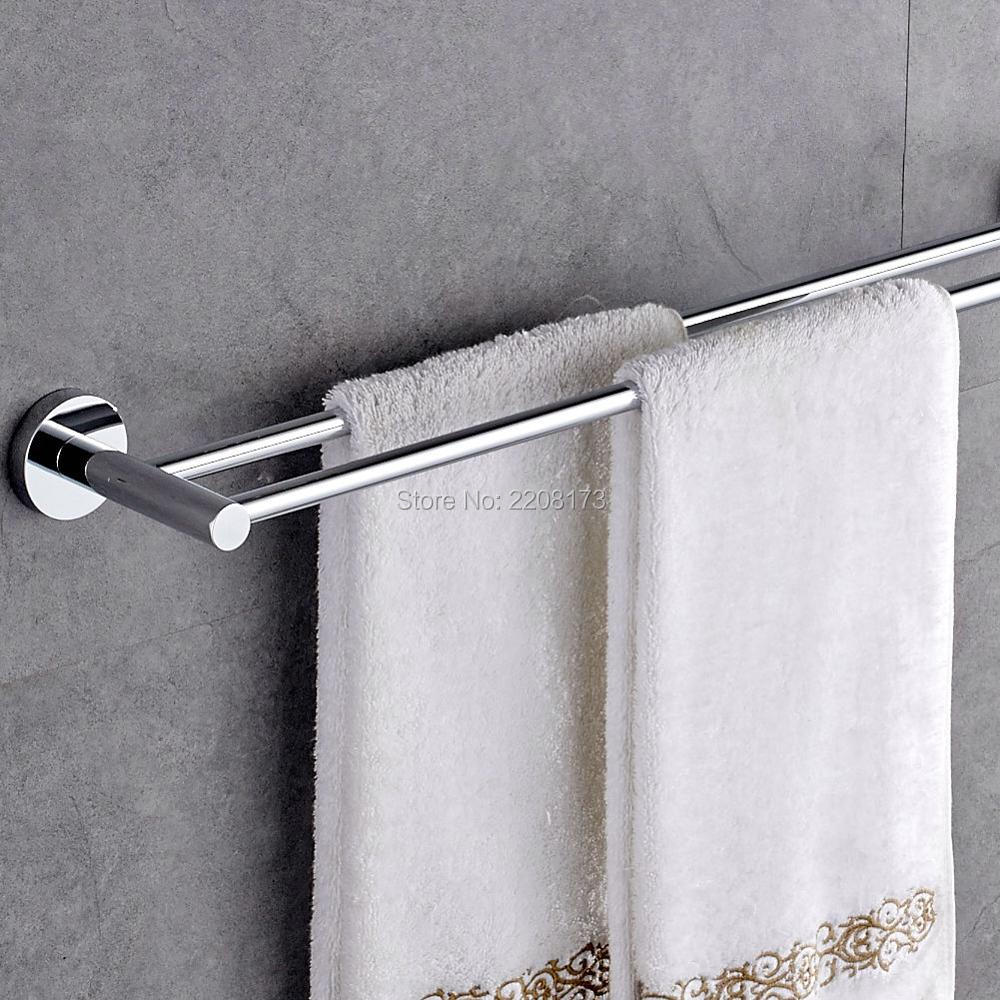 bathroom accessories solid brass chrome finished double wall mounted bathroom towel rail storage rack towel shelf towel bar