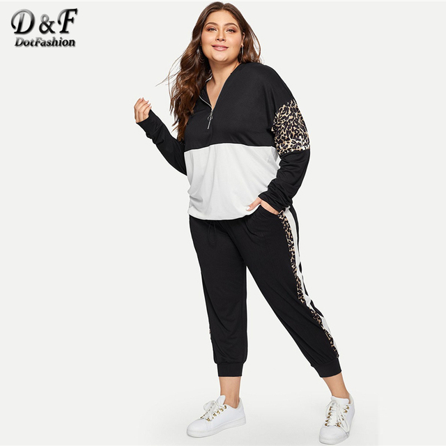 0700454a295 Dotfashion Plus Size Half Placket Leopard Print Hoodie With Sweatpants Set  Womens Fashions 2019 Autumn Casual