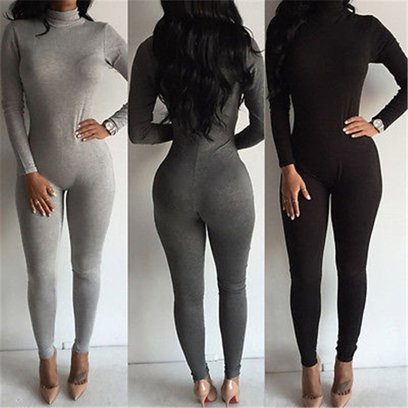 Autumn Woman Jumpsuits Solid New Women Casual Long Sleeve Bodycon Jumpsuit Club Long Cotton Blend