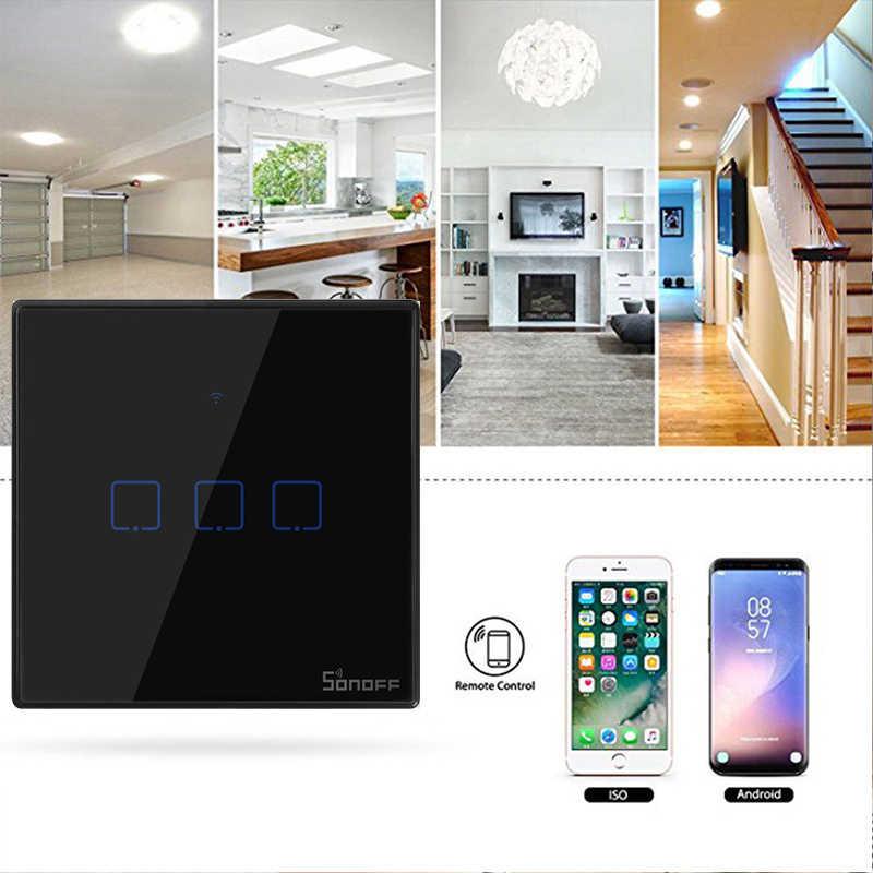 Itead Sonoff nuevo T3US 120 tamaño 1/2/3 banda TX 433Mhz RF control remoto interruptor Wifi con Border funciona con Alexa Google Home
