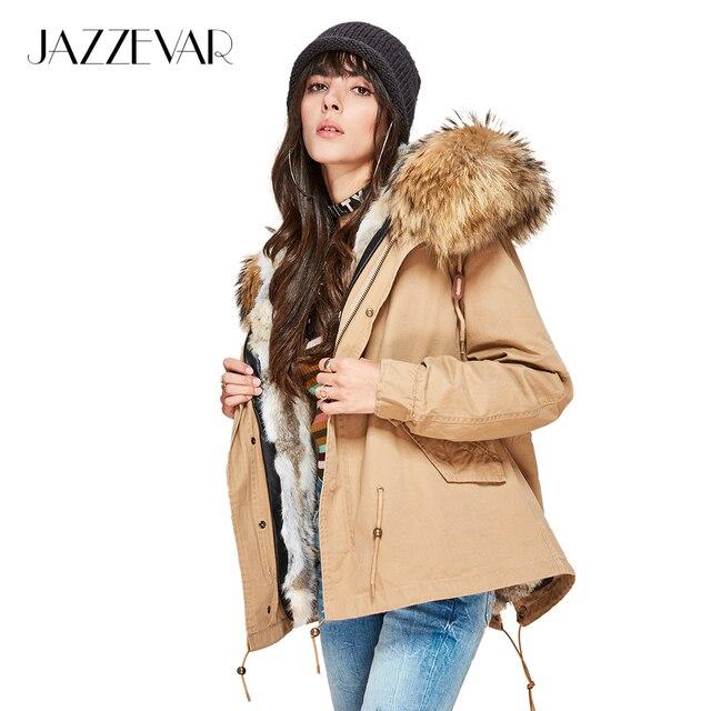 Jazzevar Модные женские натуральный кроличий мех внутри на куртка с капюшоном мини парки воротник из меха енота Зимняя куртка; верхняя одежда
