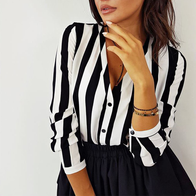 Office Blouses Top-Shirts Top Sexy Loose Autumn Fall Female Striped Casual Women Ladies