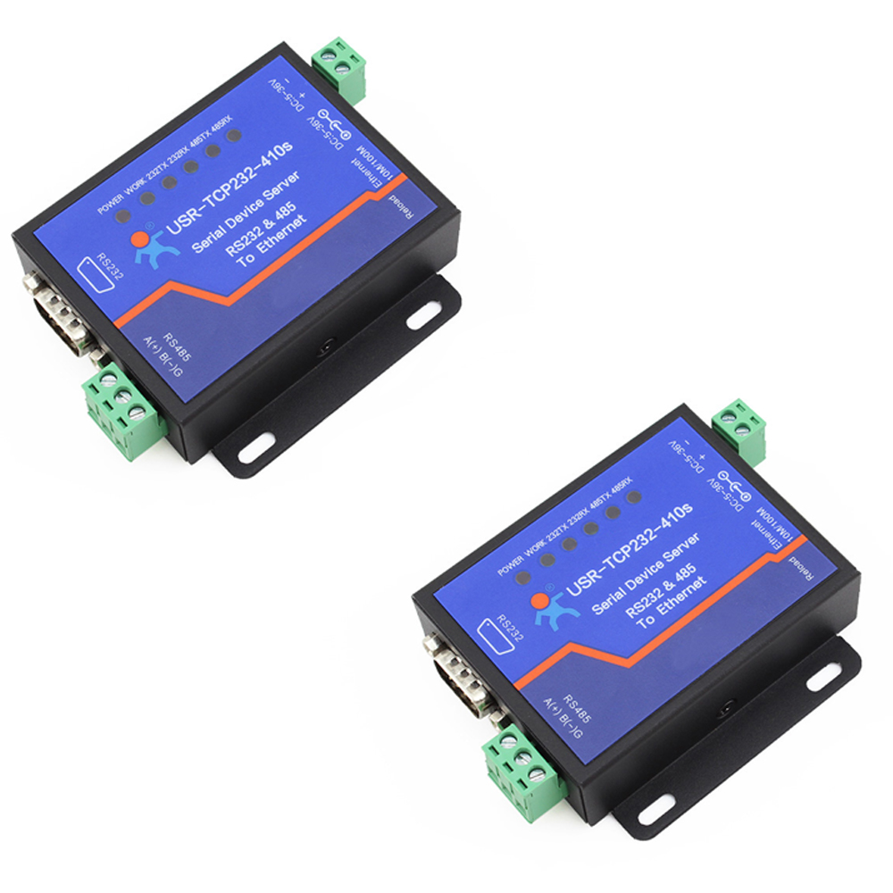Q18039-2 2PCS USR-TCP232-410S Terminal Power Supply RS232 RS485 to TCP/IP Converter Serial Ethernet Serial Device Server rs422 rs485 to tcp ip ethernet serial device server 10 100mb adapter converter