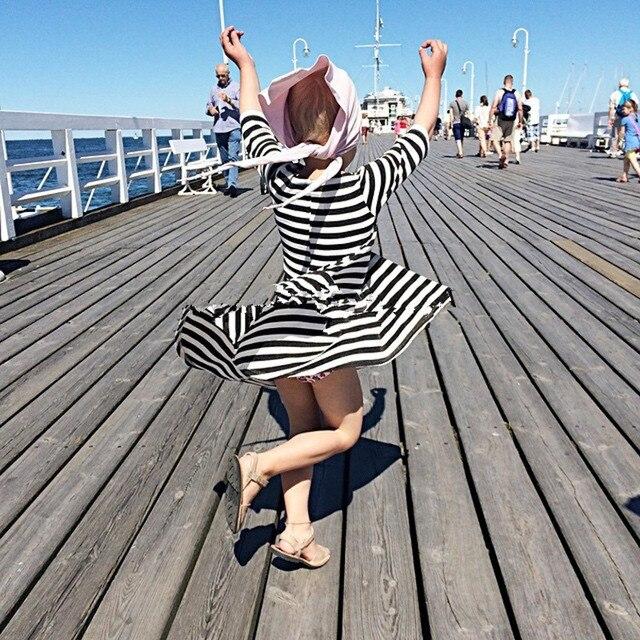 Новые Девушки платья весна и осень повседневный стиль Асимметричный полосатый платье принцессы, партия для детей хлопка одежды