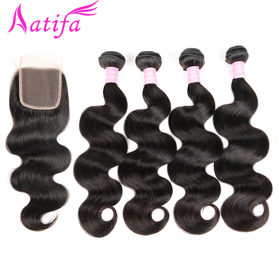 Peruvian Body Wave Hair 4 Bundles with Closure 100 Remy Human Hair Bundles with Closure Aatifa