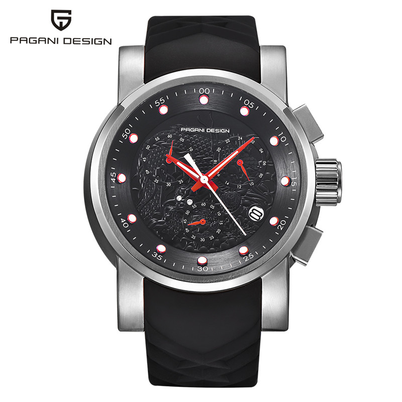 купить Luxury Sport Chronograph Men Wristwatches Dragon Totems Waterproof Silicone Rubber Stylish Business Stainless Steel Quartz Watch недорого