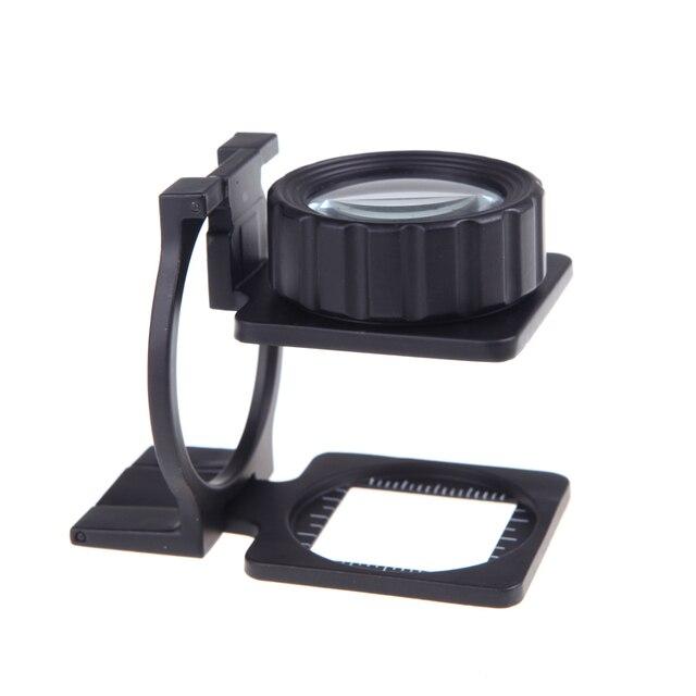 b4b7b683ba 20X Foldable eye Magnifier Stand Measure Scale mini Loupe Magnifying Glass  Portable lente de aumento gafas lupa mikroskop