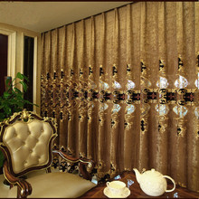 European Brown embroidered gold window curtains for living room blackout Tulle curtain luxury bedroom hotels