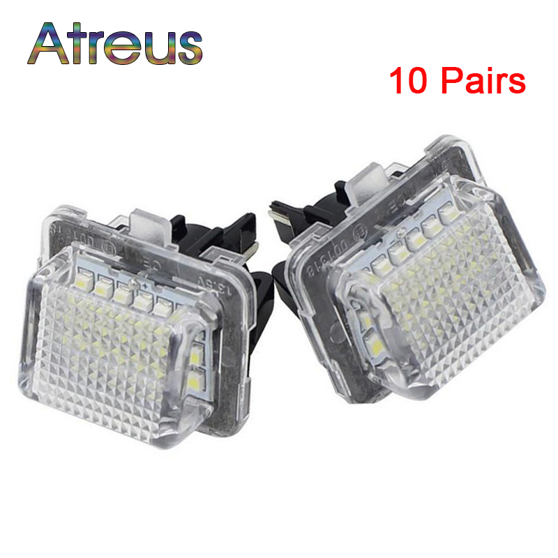 Atreus 10Pairs Car LED License Number Plate Lights 12V Error Free Lamp For Mercedes W204 W212 W216 W221 C207 Benz Accessories 2pcs car lights 24smd led number plate light lamp bulbs rear led license plate lights for bmw e38 led number lamp free shipping