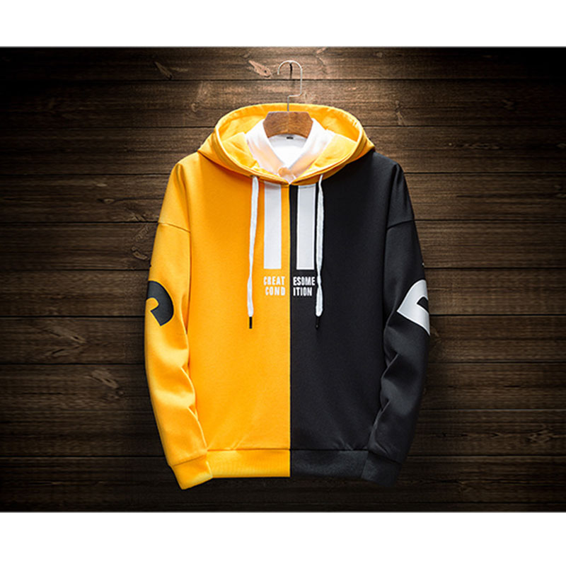 Hot 2020 Autumn And Winter Brand Two-color Color Matching Sweatshirts Men High Quality Letter Printing Fashion Mens Hoodies