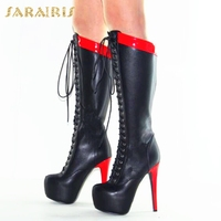 SARAIRIS 2018 Large Size 34 43 Platform Sex Thin High Heels Women Shoes Woman Boots Knee High Boots Casual Footwear