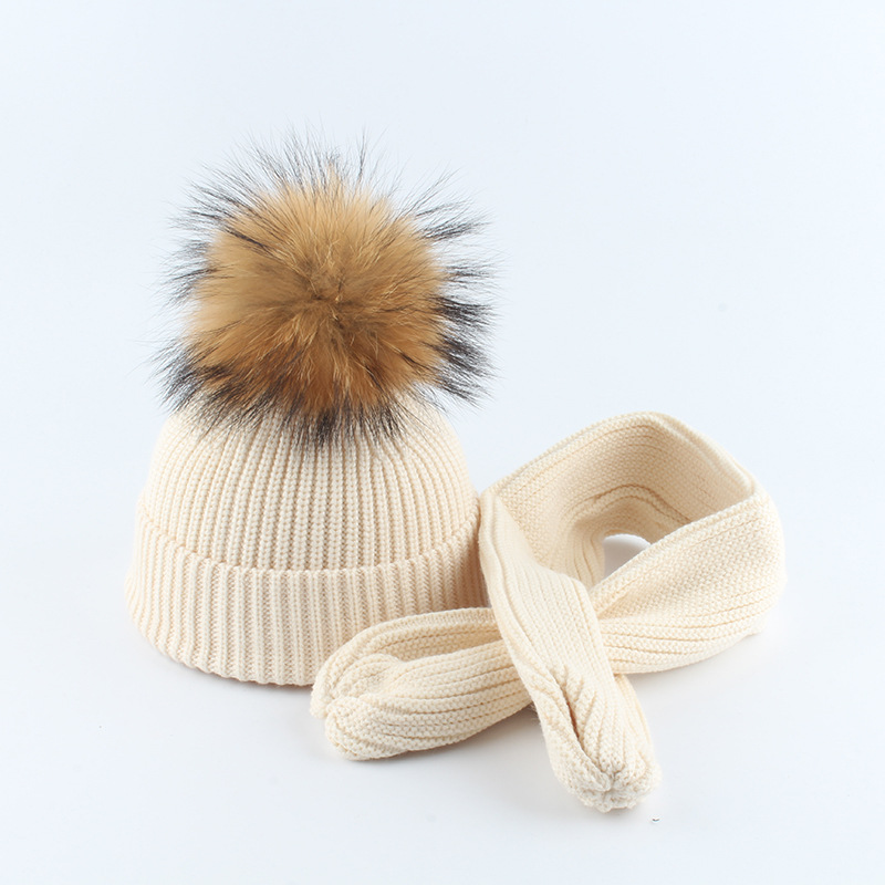 Knit Hat Scarf Set Baby Boy Girl Winter Beanie Warm Angora Real Raccoon Fur Pompon Headwear Skiing Outdoor Accessory