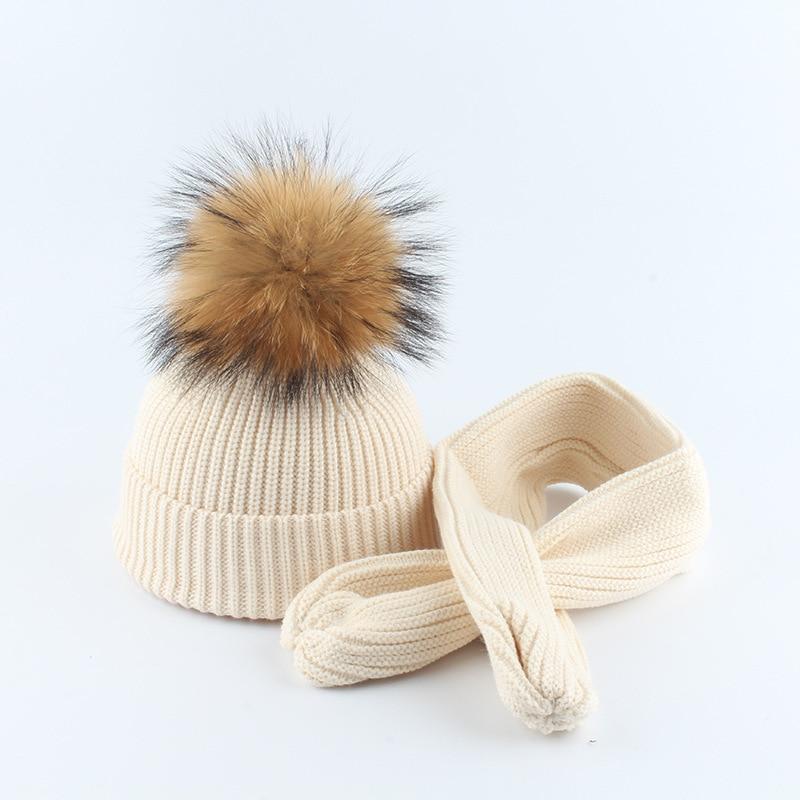Knit Hat Scarf Set Baby Boy Girl Winter Beanie Warm Angora Real Raccoon Fur Pompon Headwear Skiing Outdoor Accessory
