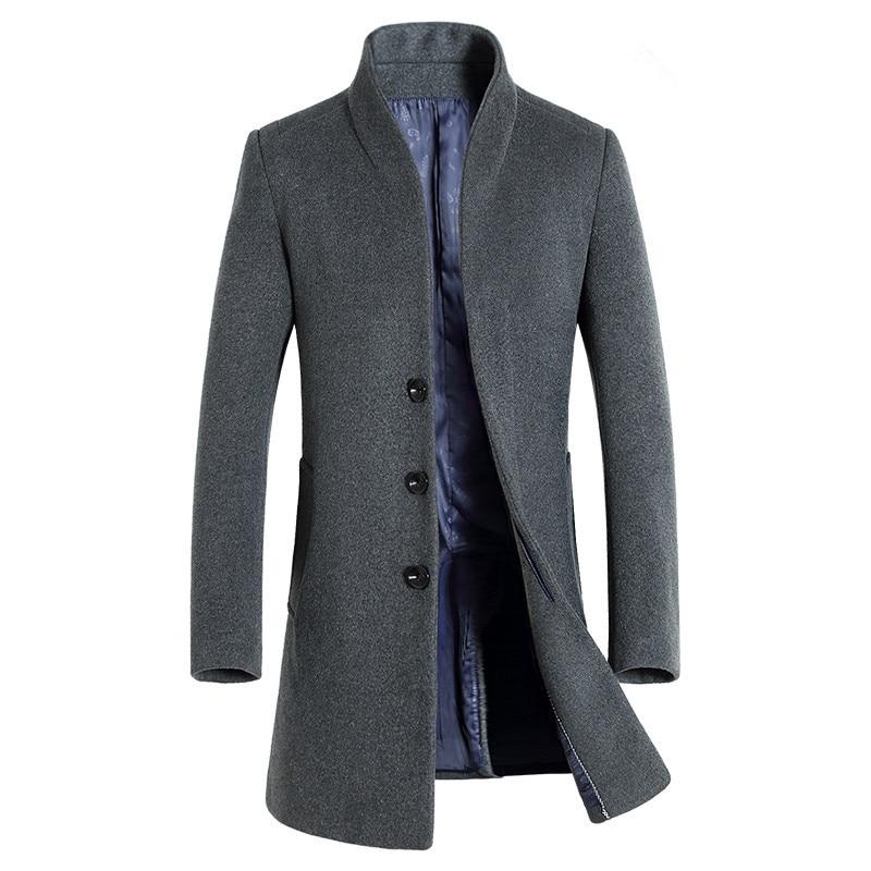 Winter New Men's Fine Wool Blend Solid Color Casual Business Stand Collar Woolen Coats / Male Slim Windbreaker Coat Men Jackets