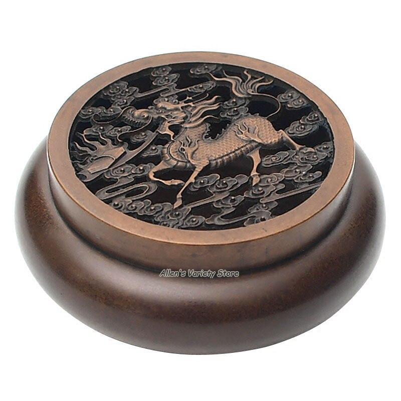 Chinese unicorn Metal Blue Brass Copper Box Coils incense Zinc Alloy Censer Thurible burner Coil Incense burner Incensory