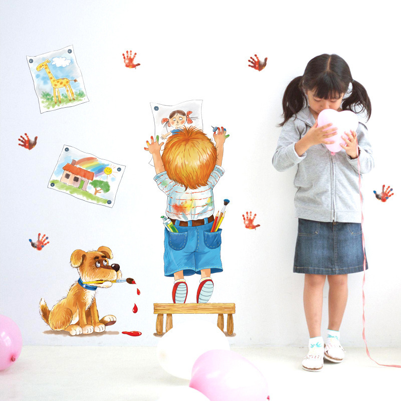 Creative Child Drawing Doodle Cartoon Wall Stickers pictures handprints dog kids room bedroom classroom decoration diy stickers