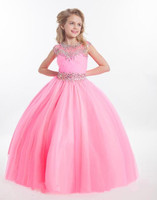 2018 Girls Pageant Dresses For Teens Illusion Neck Crystal Beads Pink Long Party Kids Flower Girl