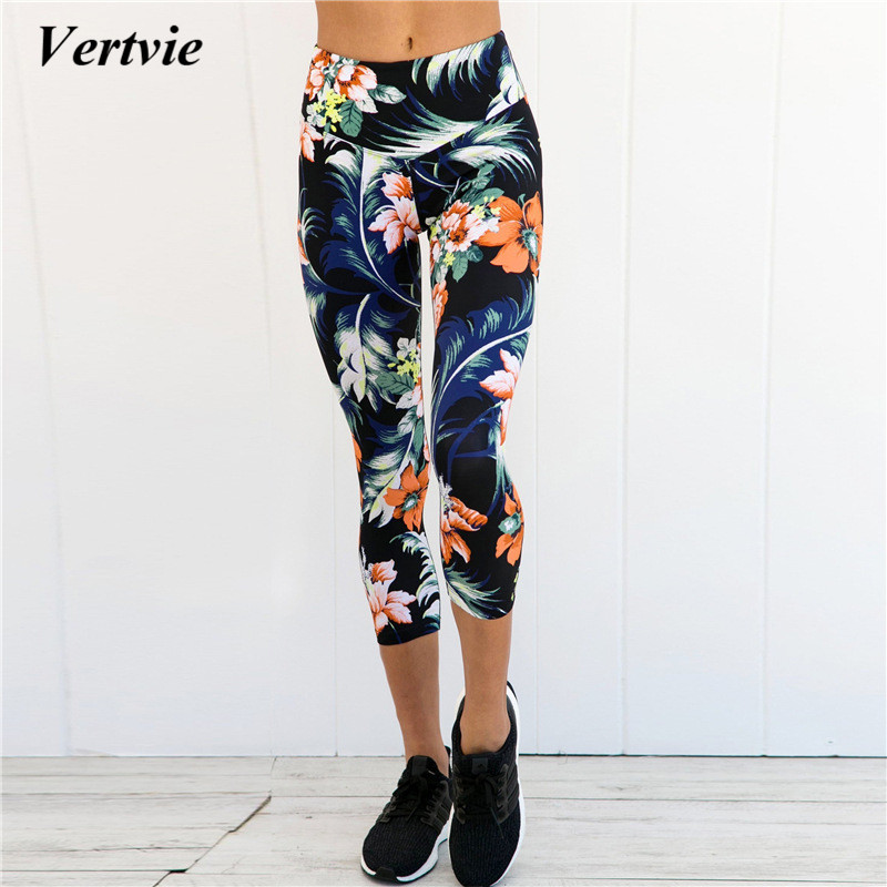 2018 Women Floral Printed Running Pants Fitness Trousers Sport Leggings Push Up Lady High Waist Jogger Pants Exercise pants