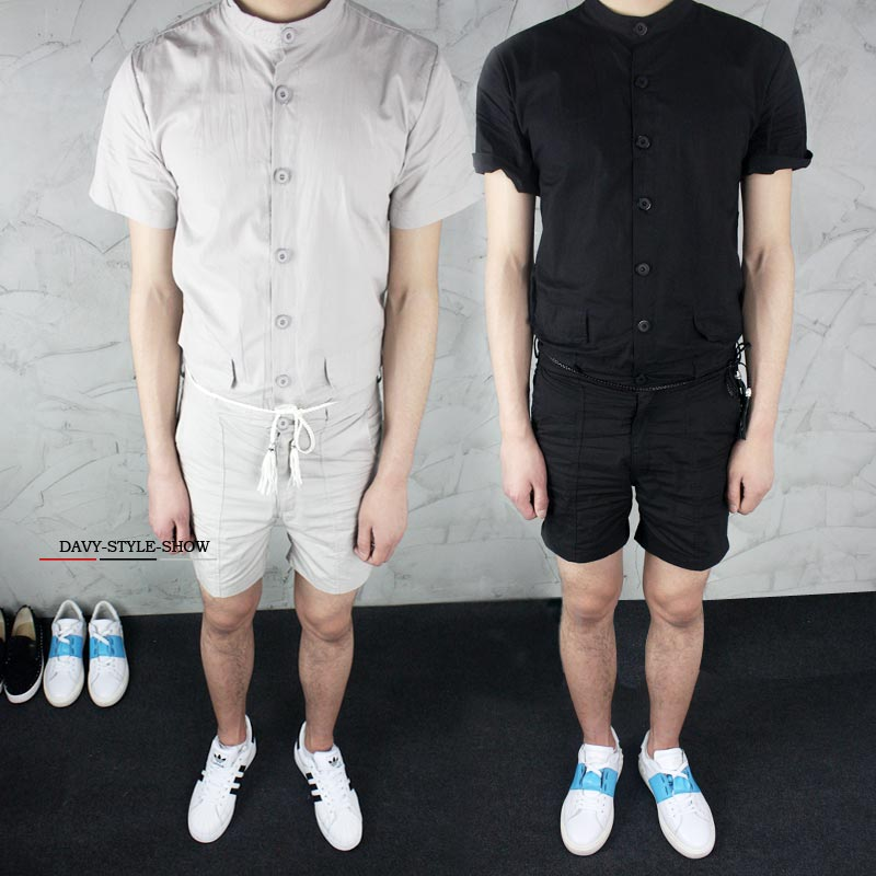 M-6XL!!! Big yards mens trousers 2018 male jumpsuit the trend of solid color slim one piece shorts male summer casual sho