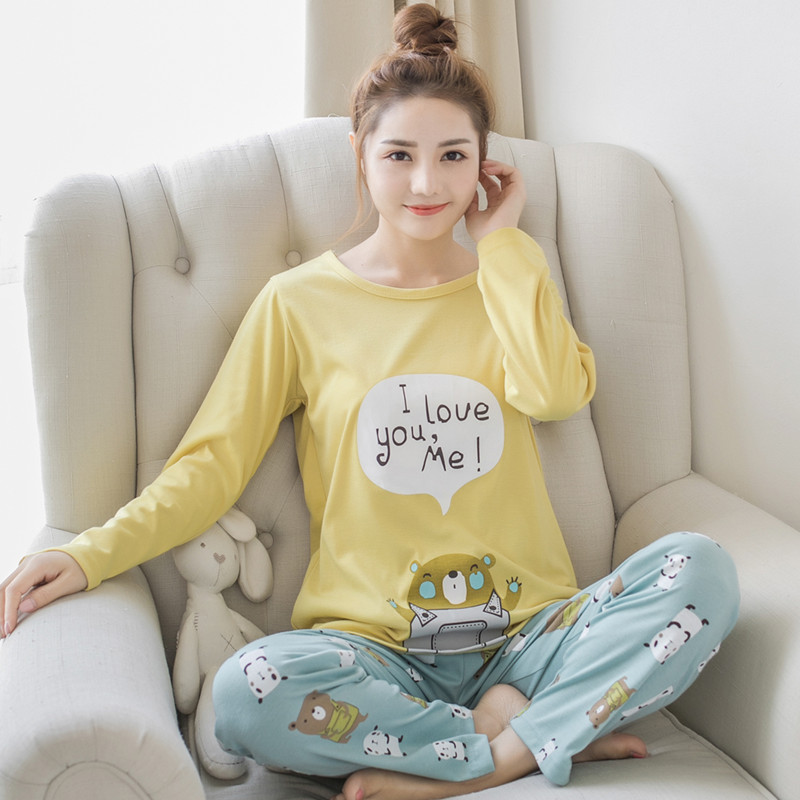 Autumn and Winter New Womans Long Sleeve Pajamas Set Cartoon Cute Cat Cotton Bear Female Winter Thermal Warm Pyjamas Suit Sets