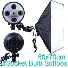 Софтбокс для фотостудии, 50*70 см, E27, 4 держателя для ламп, 100 240 В, световая Мягкая коробка, комплект для фотографии