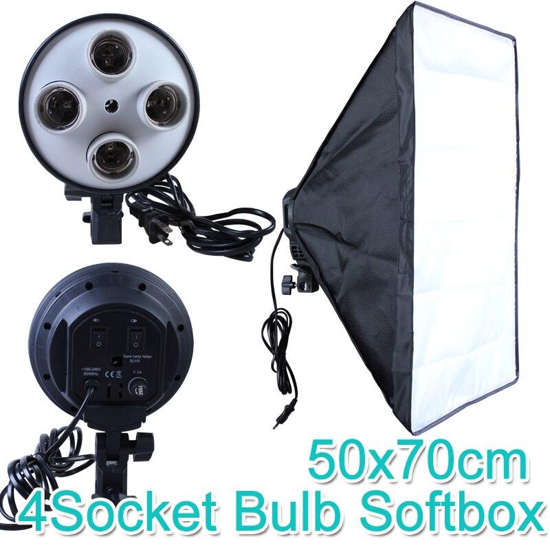 Foto Studio 50*70 cm Softbox E27 4-Lampe-Halter 100-240 v Beleuchtung Weiches Box fotografie Kit