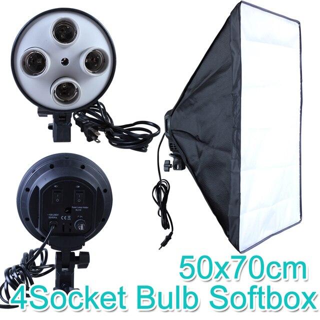 Photo Studio 50*70cm Softbox E27 4 Lamp Holder 100 240v Lighting Soft Box Photography Kit