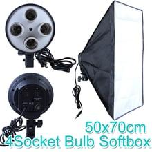 Photo Studio 50*70cm Softbox E27 4 lampa uchwyt na 100 240v oświetlenie miękkie pudełko zestaw fotograficzny
