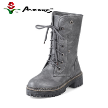 Anvenus Winter Women Martin Boots Female Leather Gothic Punk Combat Boots Woman Mid-calf Warm Ladies Girl Shoes Black White Grey
