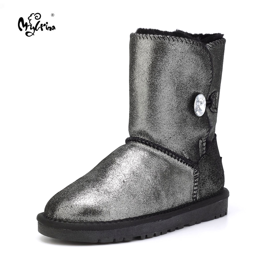 Top Quality New Fashion Real Wool Genuine Leather Snow Boots Natural Fur Waterpoor Botas Mujer Winter Warm Shoes For Women free shipping top fashion new mujer botas 2016 winter women boots 100