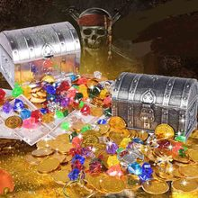 1 Box Treasure Hunting Children Retro Plastic Large Toy Gold Coins and Pirate Gems Jewelry Playset Pack