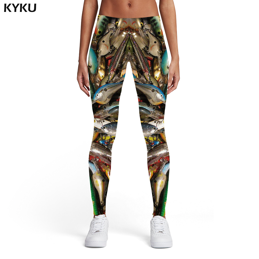 KYKU Brand Fish Leggings Women Squid Elastic Animal 3d Print Tropical Ladies Fishinger Sport Womens Leggings Pants Fitness Slim