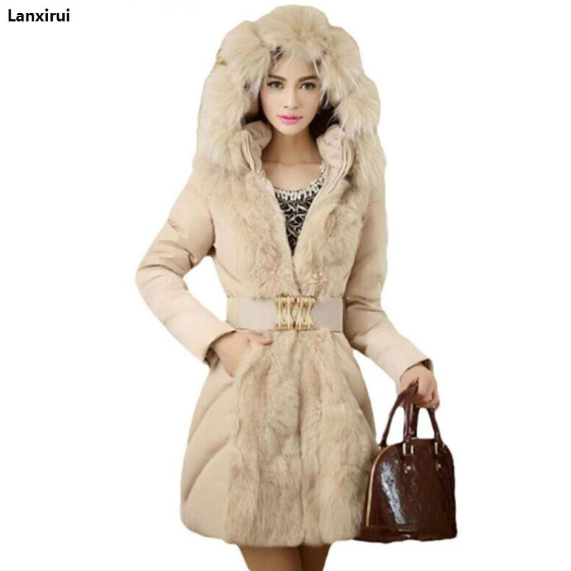 Brand Fashion Women Elegant Winter Warm Down Jacket Parka Fur Ladies Slim Hoodies Long Cheap Coat Belt Manteau Femme