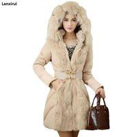 Brand Fashion Women Elegant Winter Warm Down Jacket Parka Fur Ladies Slim Hoodies Long Cheap Coat Belt Manteau Femme