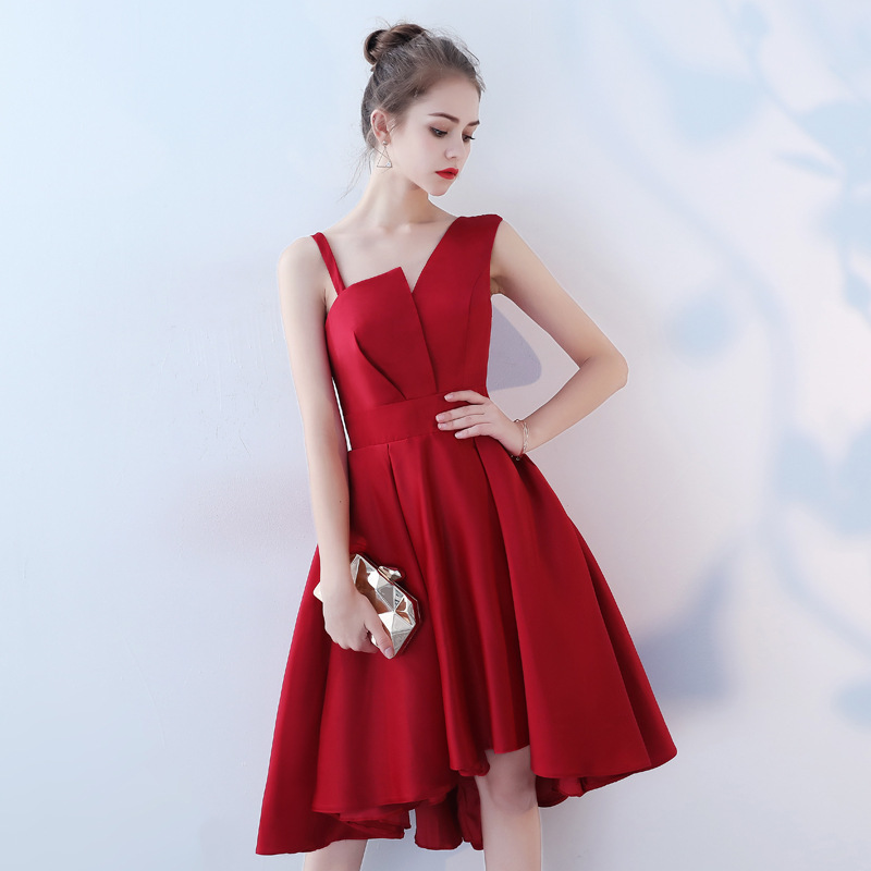 High Low Red Prom Dresses Knee Length Junior Graduation 2019 Custom Modest Gala Dress Plus Size