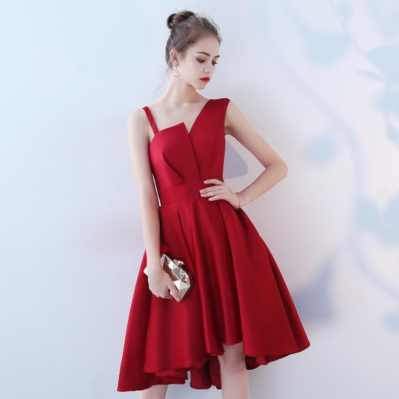 High Low Red Prom Dresses Knee Length Junior High Graduation Dresses 2019 Custom Modest Prom Dresses Gala Prom Dress Plus Size